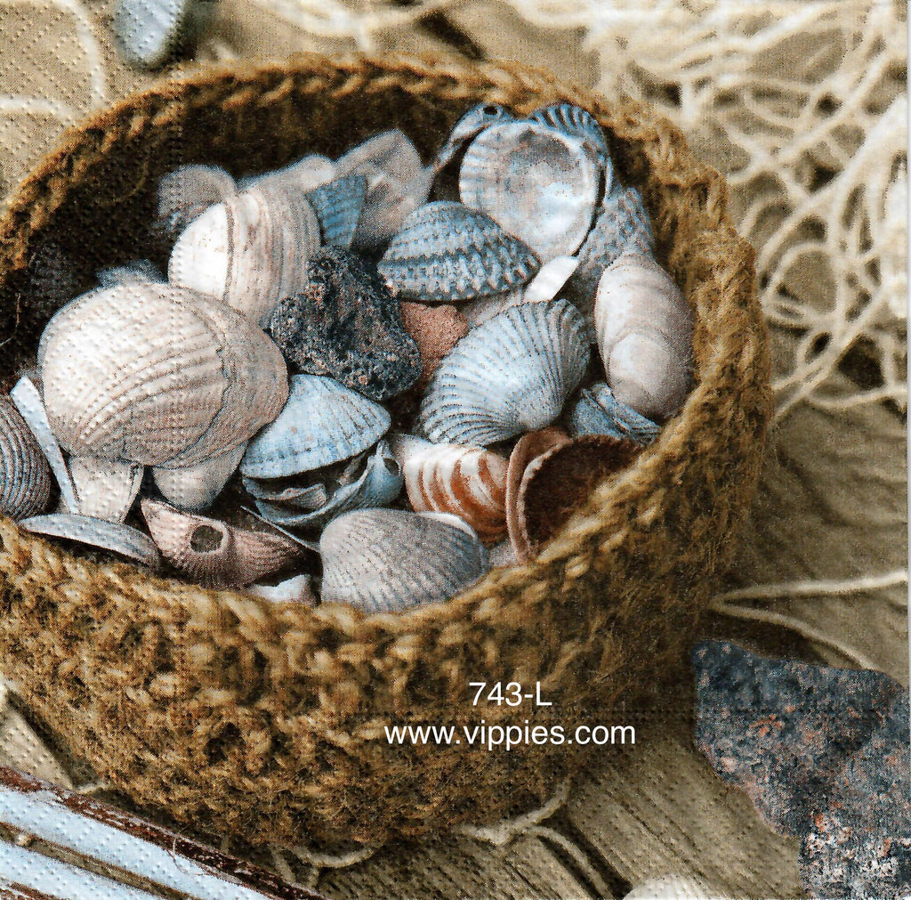 NS-743 Basket of Shells Napkin for Decoupage