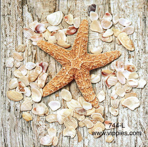 NS-744 Sea Star and Shells Wreath Napkin for Decoupage