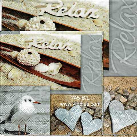 NS-745 Relax Beach Blocks Napkin for Decoupage