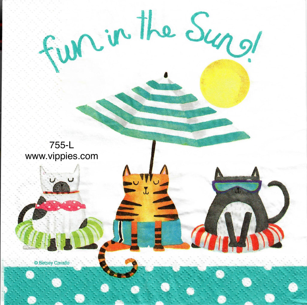 NS-755 Fun in Sun Cats Napkin for Decoupage