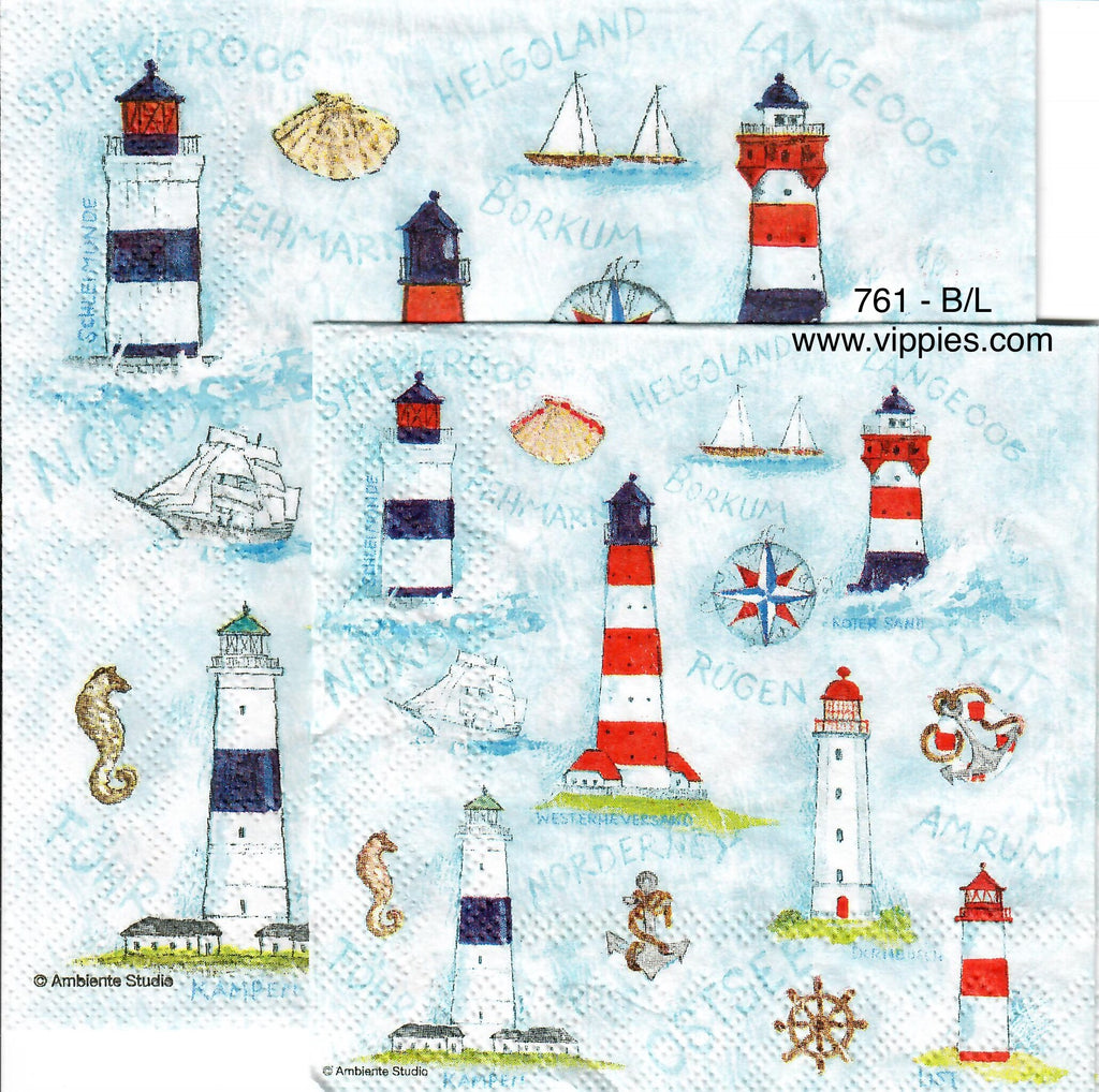 NS-761 Little Lighthouses Napkin for Decoupage
