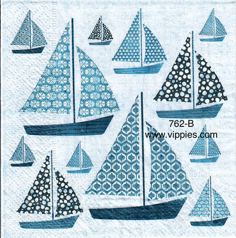 NS-762 Blue Sailboats Napkin for Decoupage