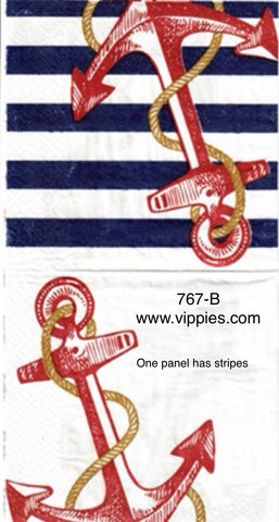NS-767 Anchor and Stripes Napkin for Decoupage