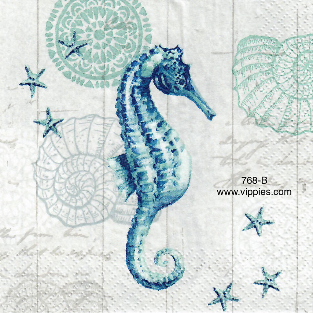 NS-768 Blue Seahorse Napkin for Decoupage