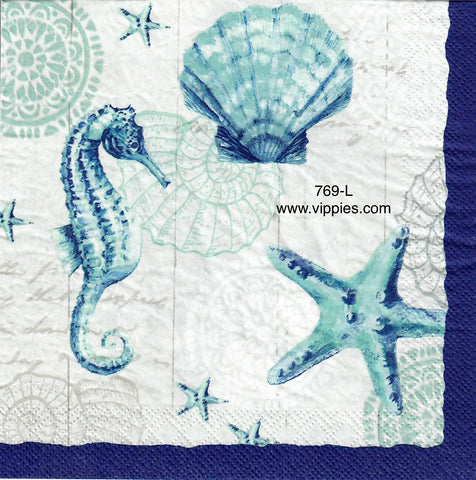 NS-769 Seahorse and Shells Napkin for Decoupage