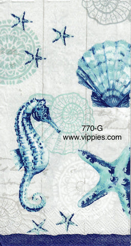 NS-770 Seahorse and Shells Guest Napkin for Decoupage