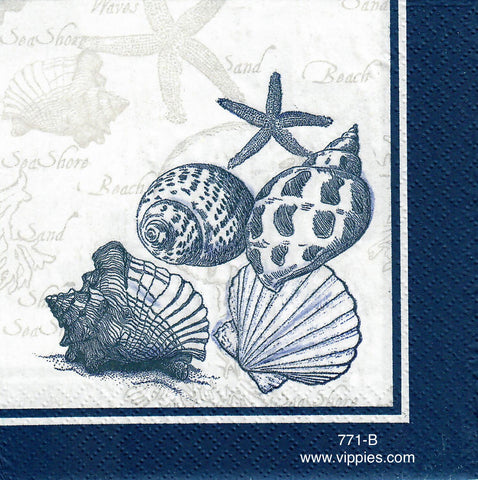 NS-771 5 Shells Dark Blue Napkin for Decoupage
