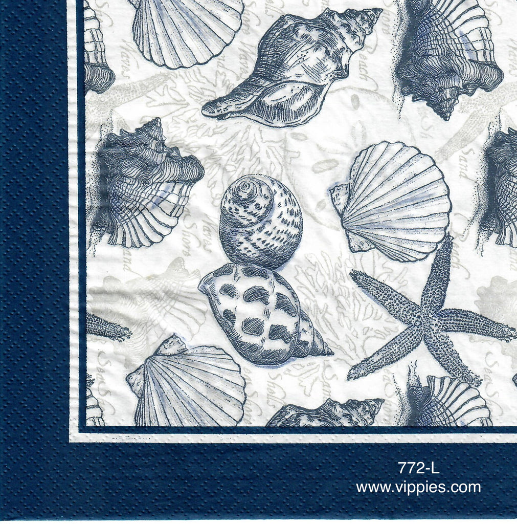NS-772 Many Shells Blue Ink Napkin for Decoupage