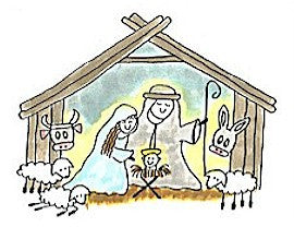 Nativity Rubber Stamp 2494K