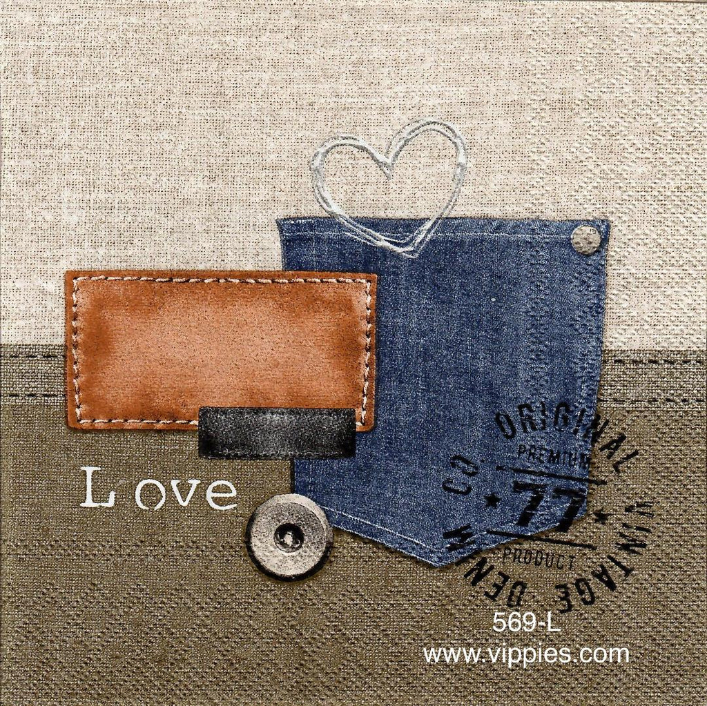 OBJ-569 Denim Love Napkin for Decoupage