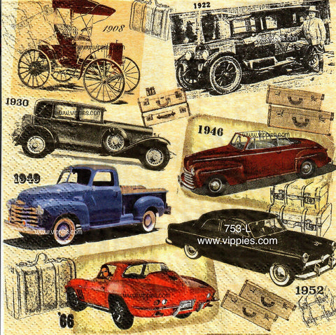 OBJ-753 Vintage Cars Napkin for Decoupage