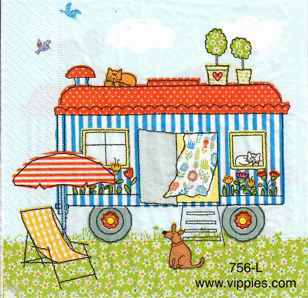OBJ-756 Summer Camper Napkin for Decoupage