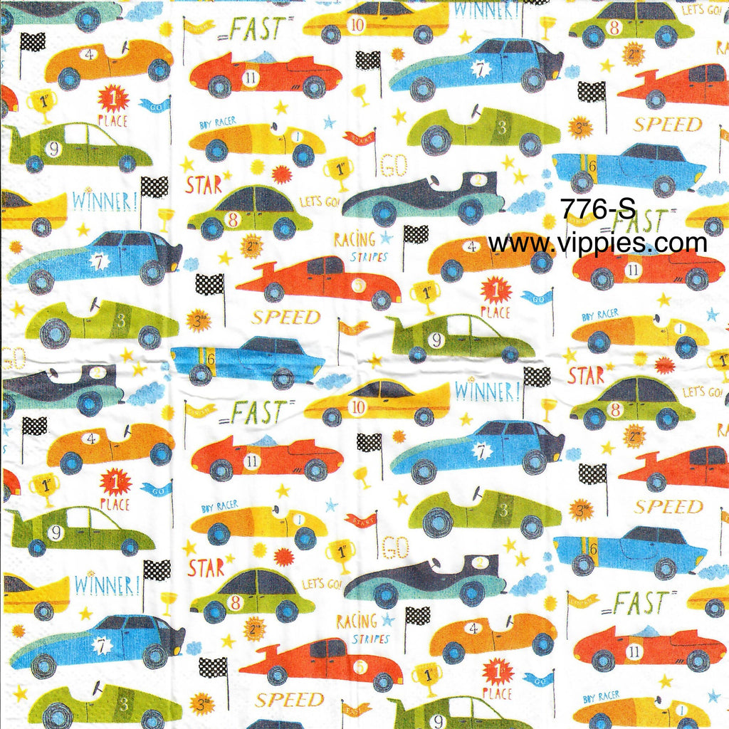 OBJ-776 Cartoony Race Cars Sniffer Napkin for Decoupage