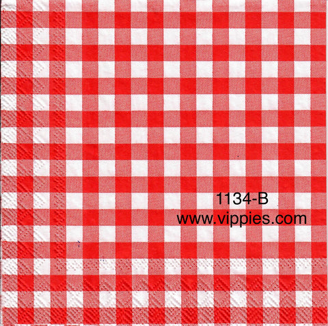 PAT-1134 Red Gingham Checks Napkin for Decoupage