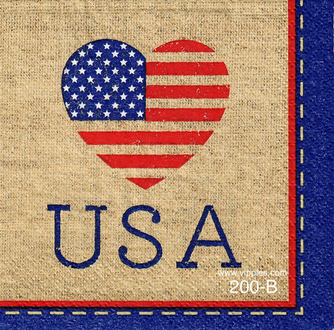 PAT-200 USA Heart Napkin for Decoupage