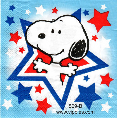 PAT-509 Snoopy Patriotic Star Napkin for Decoupage