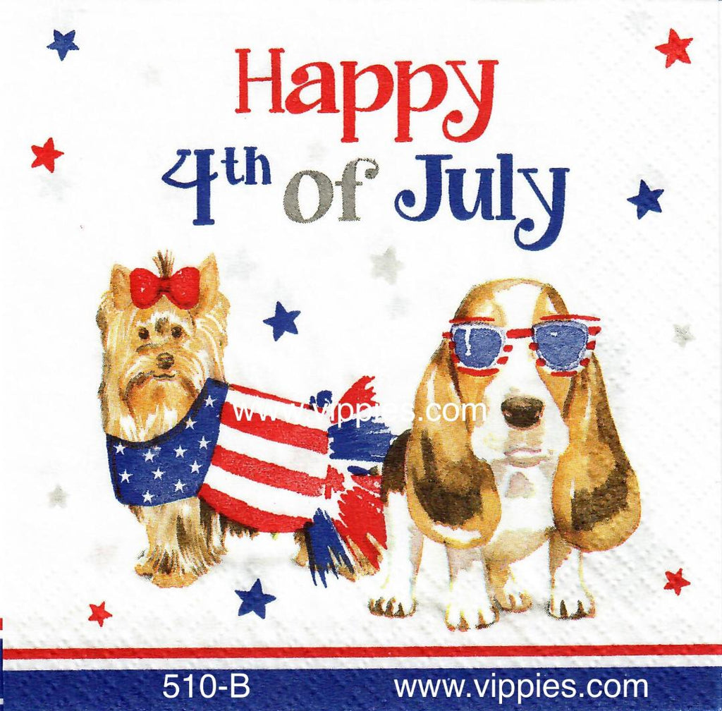 PAT-510 Patriotic Dogs 4th of July Napkin for Decoupage