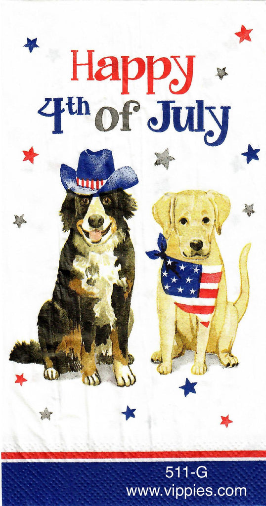 PAT-511 Happy 4th Dogs Napkin for Decoupage