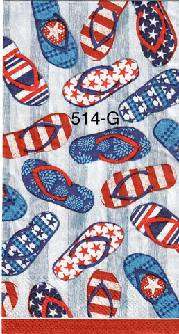 PAT-514 Patriotic Flip Flops Napkin for Decoupage