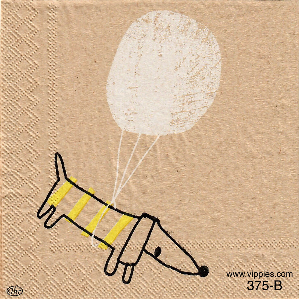 PT-375 Tan Dog Balloon Napkin for Decoupage