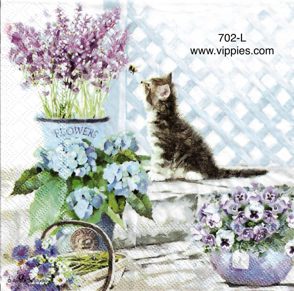 PT-702 Cat Bee Flowers Napkin for Decoupage