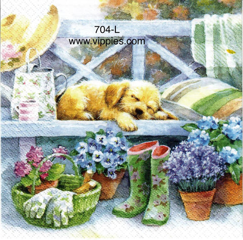 PT-704 Sleeping Garden Puppy Napkin for Decoupage