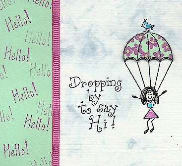 Parachute Gal Rubber Stamp 2359E