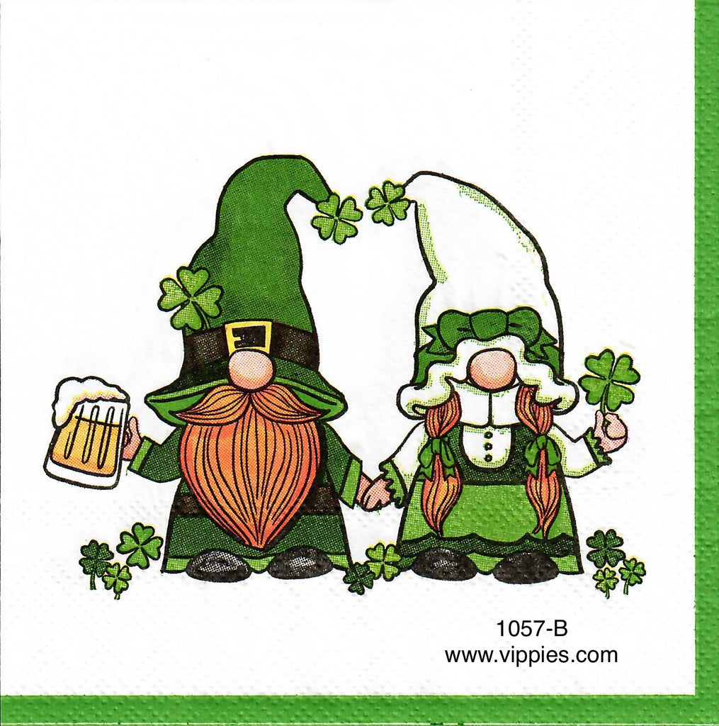 SPD-1057 St. Patricks Day Gnome Couple Napkin for Decoupage