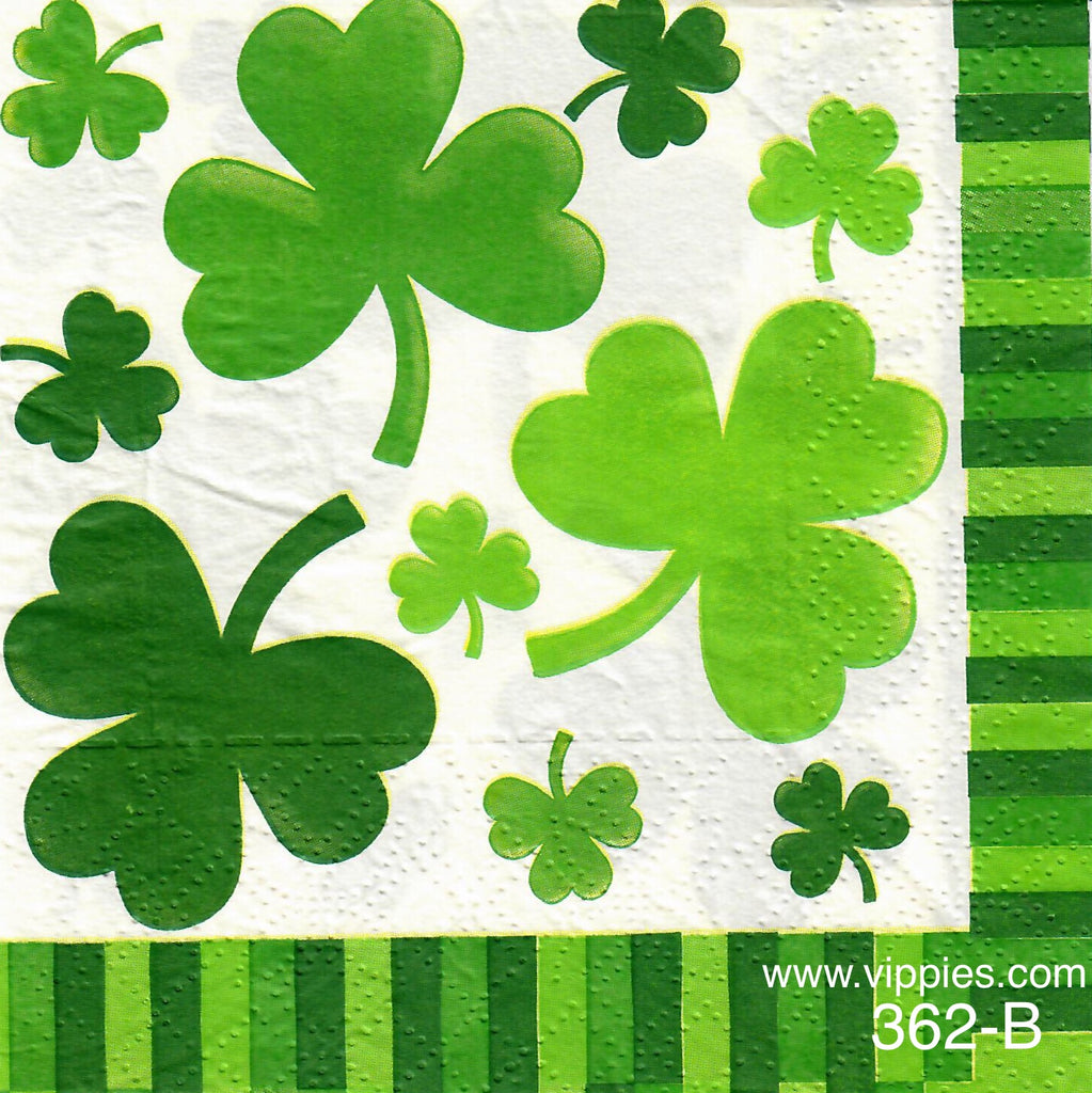 SPD-362 Shamrocks Striped Border Napkin for Decoupage