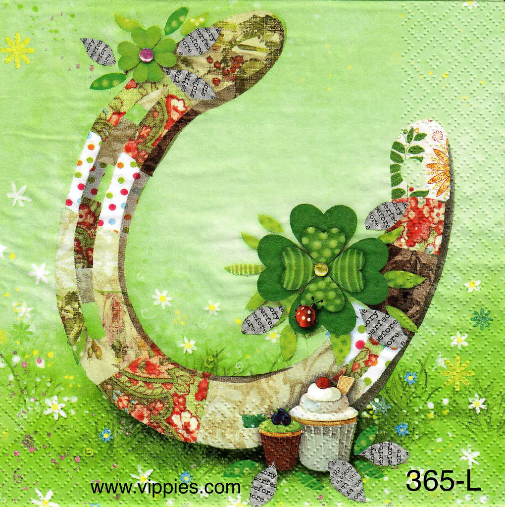 SPD-365 Shamrock Horseshoe Napkin for Decoupage