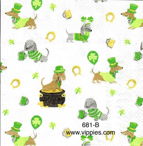 SPD-681 St. Patrick's Dogs Napkin for Decoupage