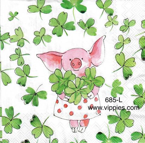 SPD-685 St. Pats Pink Piggy Clover Napkin for Decoupage