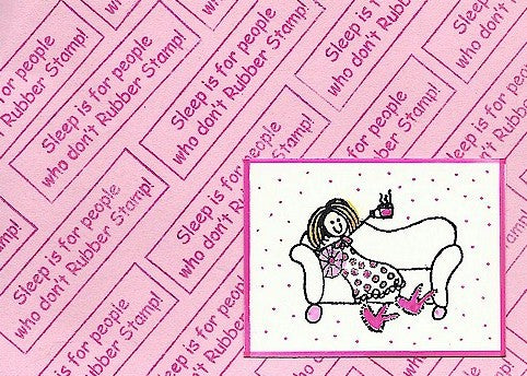 Sofa Girl Rubber Stamp 2551F