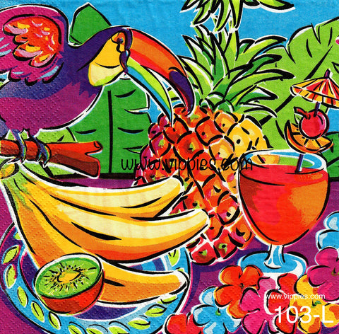 TRP-103 Fruit/Toucan Napkin for Decoupage