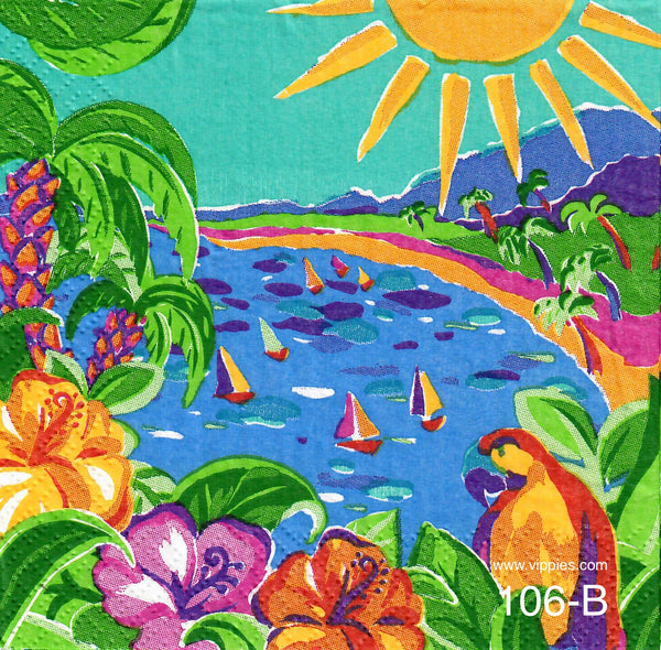 TRP-106 Tropical Scene Napkin for Decoupage