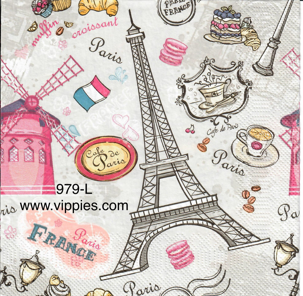TRV-979 Paris Windmill Napkin for Decoupage