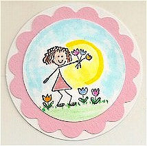 Tulip Girl Rubber Stamp 2294D