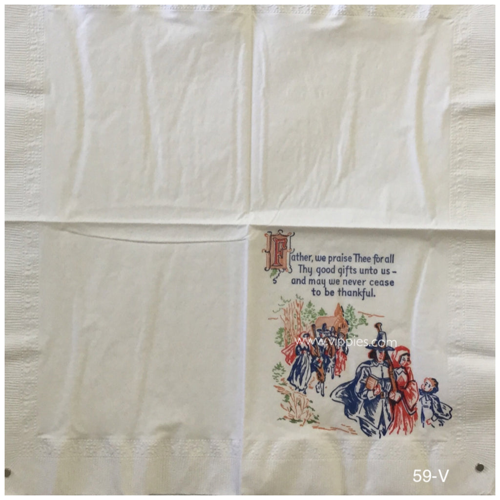 VNT-059V Pilgrims and Prayer Vintage Napkin