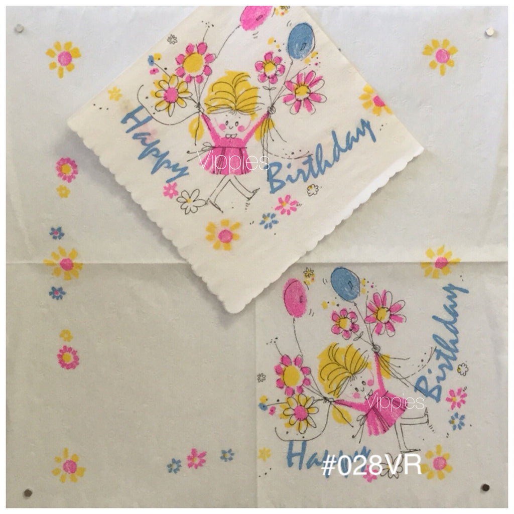 VNTR-028-VR Birthday Girl Flowers Vintage Retro Napkin