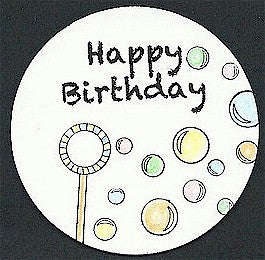 "Pre-Printed ""Happy Birthday"" White Circle Tags - PPCTHBday"