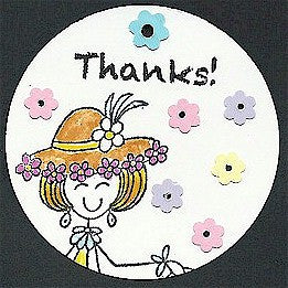 "Pre-Printed ""Thanks"" White Circle Tags - PPCTThnks"