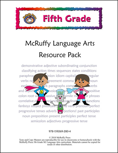 Fifth Grade Language And Grammar Curriculum Package Mcruffy Press