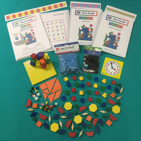 First Grade Color Math Curriculum with Manipulative Kit