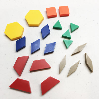 Pattern Blocks (20 Piece set) 1 CM Wood - McRuffy Press
