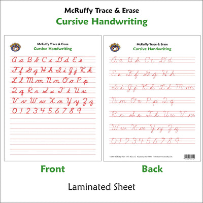 Trace and Erase - Cursive - McRuffy Press