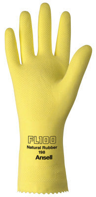 Unsupported Latex Gloves, 10, Natural Latex, Flock Lined, Yellow