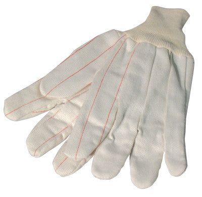 1000 Series Canvas Gloves, Large, White, Knit-Wrist Cuff