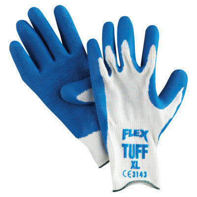 Blue | Flex Tuff Latex Dipped Gloves, X-Large, White