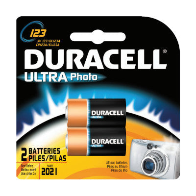 Duracell Batteries, Lithium Cell, 3 V, 123, 2 per card