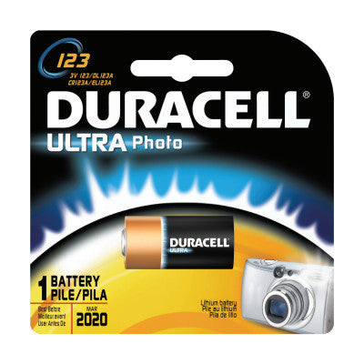 Duracell Procell Batteries, Lithium Cell, 3 V, 123, 1 per pack
